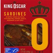 King Oscar Sardines, In Extra Virgin Olive Oil, with Red Bell Pepper, Garlic, Rosemary & Hot Chili