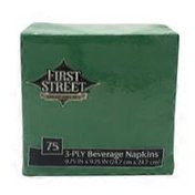 First Street Artstyle Emerald Green Beverage Napkin, 3-Ply