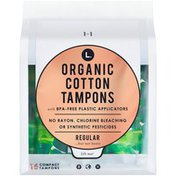 L. Organic Cotton Regular Absorbency Compact Tampons