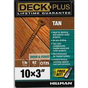 Deck Plus Screws, Wood & Fence, Tan, 3 Inch