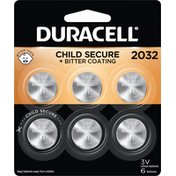 Duracell Batteries, Lithium, 2032, 6 Pack