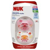 NUK Pacifiers, Orthodontic, Natural Shape, Silicone, 6-18 M