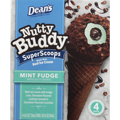 Friendly's Ice Cream Cones, Nutty Buddy, Super Scoops, Mint Fudge, 4 Pack
