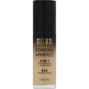 Milani Foundation + Concealer, 2-in-1, Conceal Perfect, 01A Creamy Nude