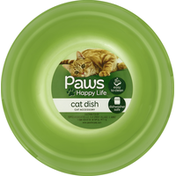 Paws Happy Life Cat Dish, Plastic, Small, 10 Ounce