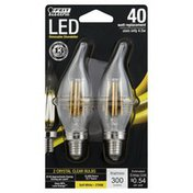 Feit Electric Light Bulbs, LED, Dimmable Chandelier, Soft White, Crystal Clear, 4.5 Watts