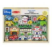 Melissa & Doug Disney Mickey Mouse Deluxe Wooden Vehicles Set - 21 PC