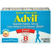 Advil Junior Strength Coated Tablets Fever Reducer/Pain Reliever