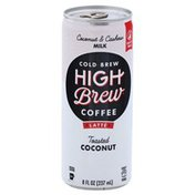 High Brew Coffee, Latte, Cold Brew, Coconut & Cashew Milk, Toasted Coconut