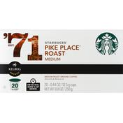 Starbucks Coffee, Ground, Medium Roast, Pike Place Roast, K-Cup