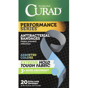 CURAD Bandages, Antibacterial, Extra Long, Assorted Colors