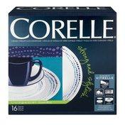 Corelle Durable Vitrelle Glass Dinnerware Livingware Ocean Blues - 16 PC