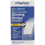 TopCare Strong Strips, Sterile Antibacterial Waterproof First Aid Antiseptic All One Size Extra Large Bandages, Clear