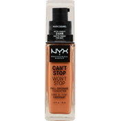 NYX Professional Makeup Full Coverage Foundation, Can't Stop Won't Stop, Warm Caramel CSWSF15.7