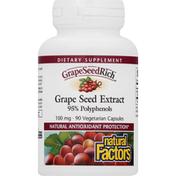 Natural Factors GrapeSeedRich, 100 mg, Vegetarian Capsules