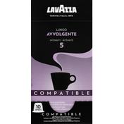 Lavazza Coffee, Ground, Intensity 5, Lungo Avvolgente, Compatible Capsules