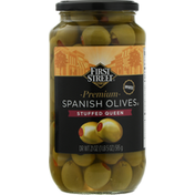 First Street Spanish Olives, Stuffed Queen, Premium