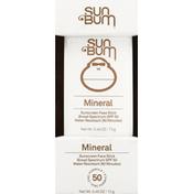 Sun Bum Sunscreen Face Stick, Mineral, Broad Spectrum SPF 50