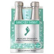 Barefoot Moscato Spumante Champagne Sparkling Wine 4 Single Serve Bottles
