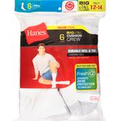 Hanes Cushion Crew Socks, Big & Tall, Shoe Size 12-14, Value Pack