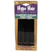 Hype Hair Comfort Curved Wrap Pins, Black