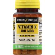Mason Natural Vitamin K, 100 mcg, Tablets