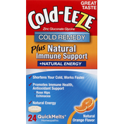 Cold-Eeze Cold Remedy, Plus Natural Immune Support, +Natural Energy, QuickMelts, Natural Orange Flavor