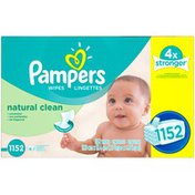 Pampers Natural Clean Baby Wipes Refill, Unscented