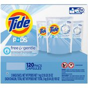 Tide PODS Free & Gentle Laundry Detergent, Unscented, 120 count, Designed for Regular and HE Washers Laundry