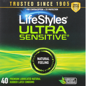 LifeStyles Condoms, Ultra Sensitive, Natural Feeling