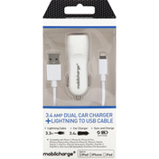 Mobilcharge Car Charger, Dual, 3.4 AMP