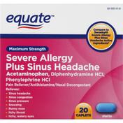 Equate Severe Allergy, Plus Sinus Headache, Maximum Strength, Caplets