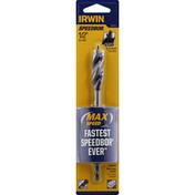 Irwin Tri-Flute Bit, Speed Tip, 0.5 inches
