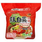 Nongshim Soup, Noodle, Seasoned with Real Kimchi, Family Pack