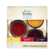 Febreze Home Collection Orange Honeycomb, Cranberry Pear, Rosewood Plum, Soy Blend Candle Trios - 3 CT