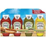 Heinz Tomato Ketchup, Sweet Relish & 100% Natural Yellow Mustard Picnic Variety Pack
