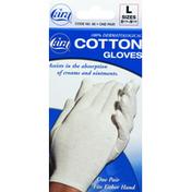 Cara Cotton Gloves, White, Large