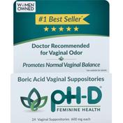 Ph-d Vaginal Suppositories, Boric Acid, 600 mg