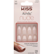 Kiss Nails, Salon Acrylic French, Nude, Medium Length