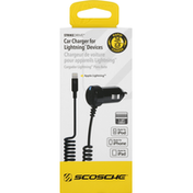 Scosche Car Charger, for Lightning Devices, 1-3 Feet Cable