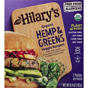 Hilary's Veggie Burgers, Organic, Hemp & Greens