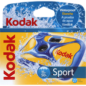 Kodak Single Use Camera, Sport, Waterproof, 27 Exposures