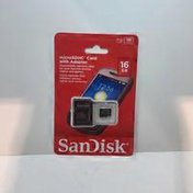 San Disk MicroSDHC Card, with Adapter, 16 GB