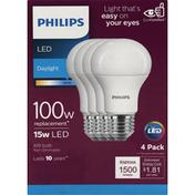Philips Light Bulbs, LED, Daylight, 15 Watts, 4 Pack,