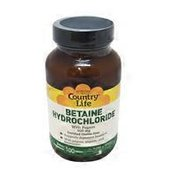 Country Life Betaine Hydrochloride with Pepsin 600 Mg Tablets