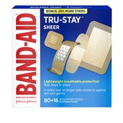 Band-Aid Brand Adhesive Bandages Tru-Stay Sheer, Assorted Sizes