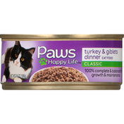Paws Happy Life Cat Food, Turkey & Giblets Dinner, Classic
