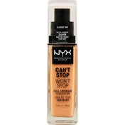 NYX Professional Makeup Full Coverage Foundation, Can't Stop Won't Stop, Classic Tan CSWSF12