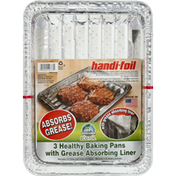 Handi-Foil Baking Pans with Grease Absorbing Liner, Healthy, 3 Pack