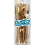 Sensations Plastic Silverware, Gold Assorted